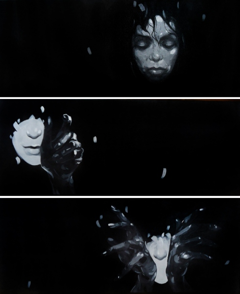 the night is darkest just before the sunrise,acrylic on canvas,3 works-20x50cm each