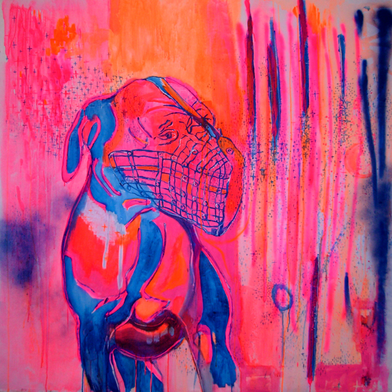 Medium:mixed media (acrylic & spray) on canvasDimensions: 145 x 140 cmYear: 2007