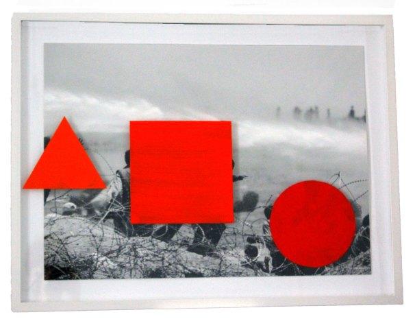Title:Geometric Shapes: Orange Medium:digital print on Hahnmuehle 310gsm, acrylic, paper, wood, glass acrylicon canvas Dimensions:83 x 63 x 4cm Year: 2016